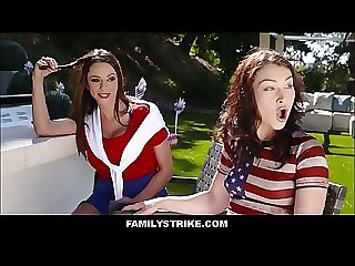 Hot Big Tits MILF Ariella Ferrera & Her Daughter Jennifer Jacobs Have Threesome With New Step Son In Front Of Husband During 4th Of July Barbecue
